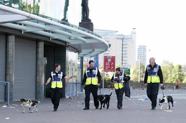 Perros expertos en explosivos en Old Trafford (Manchester)
