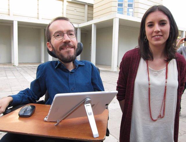 Pablo Echenique e Irene Montero (Podemos), en un acto en Zaragoza