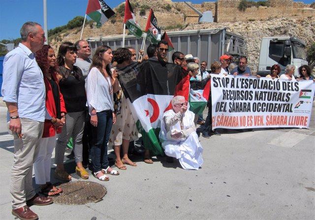 Concentración contra la descarga de arena del Sáhara en Palma