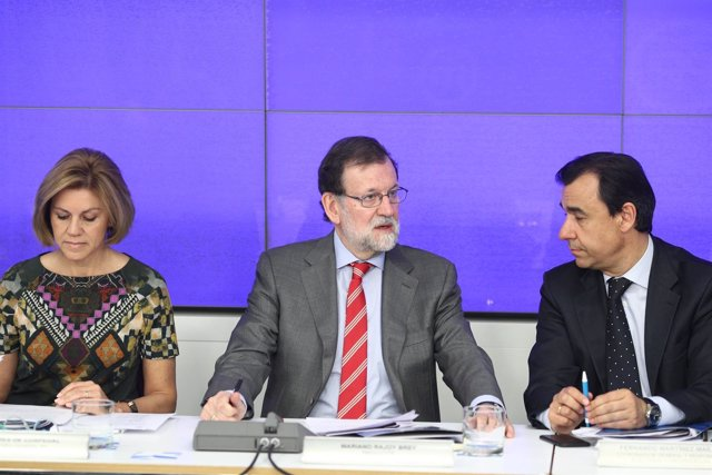 Rajoy, Cospedal y Martínez Maíllo en la reunión del Comité Ejecutivo del PP