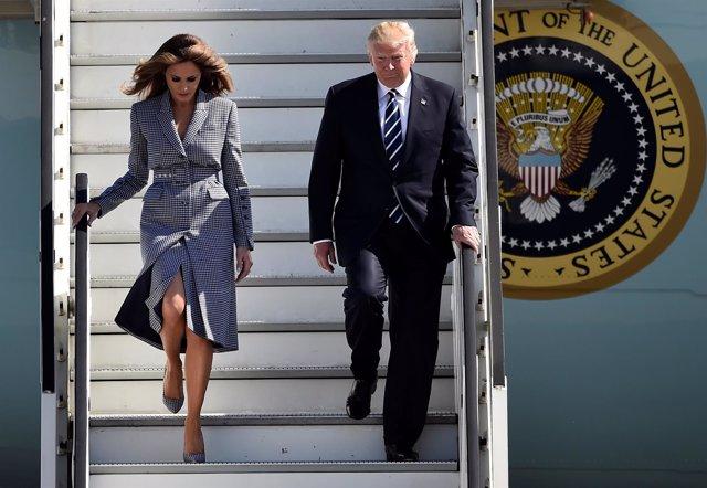 Donald Trump y Melania Trump llegan a Bruselas
