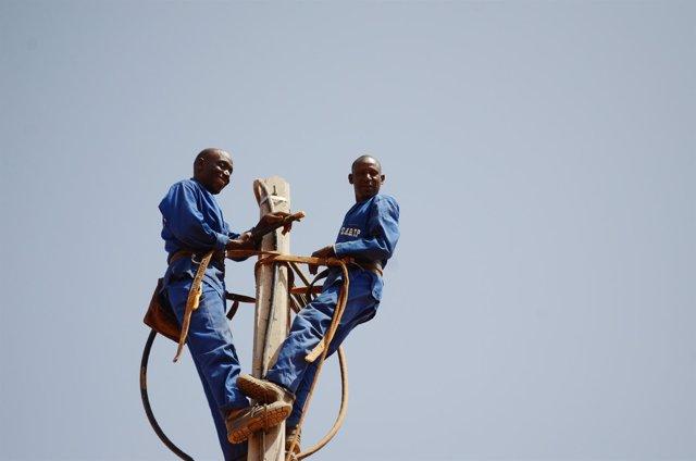 Instalación de una red eléctrica en Malí