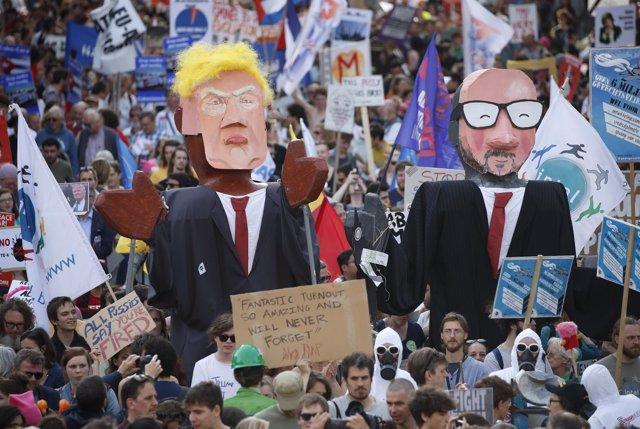 Manifestación contra Trump en Bruselas
