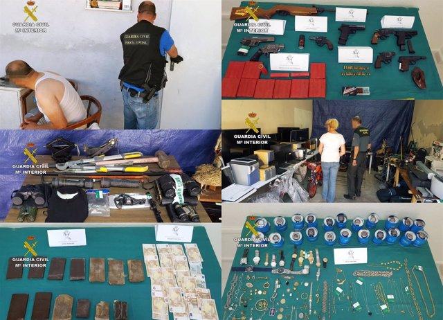 Imágenes de la intervención de la Guardia Civil, de los detenidos y del material