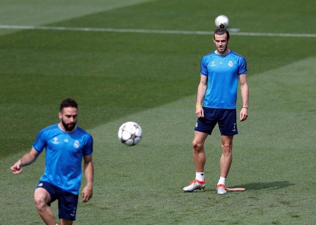 Gareth Bale y Dani Carvajal en un entrenamiento del Real Madrid