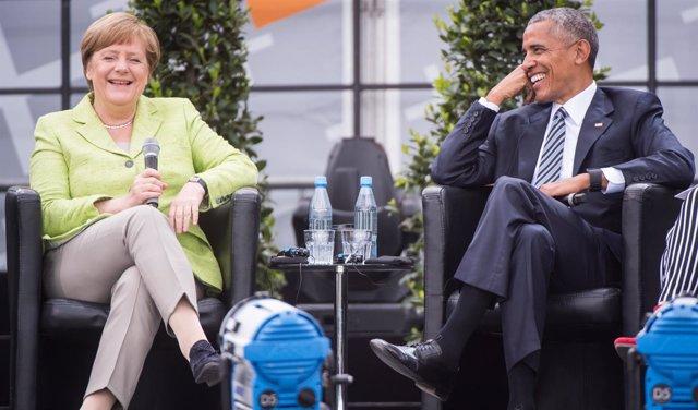 Barack Obama y Angela Merkel en una conferencia en Berlín