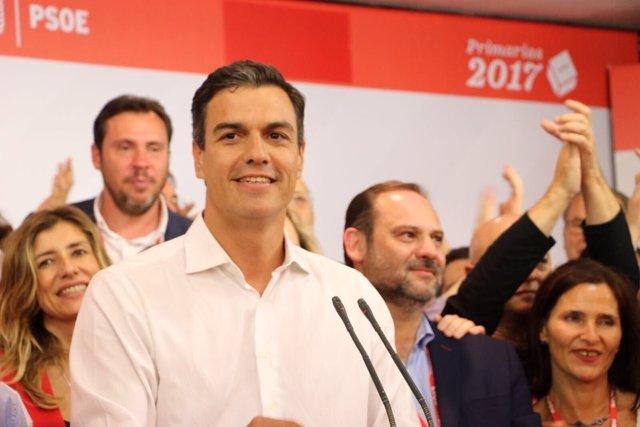 Intervención de Pedro Sánchez tras ganar las primarias del PSOE