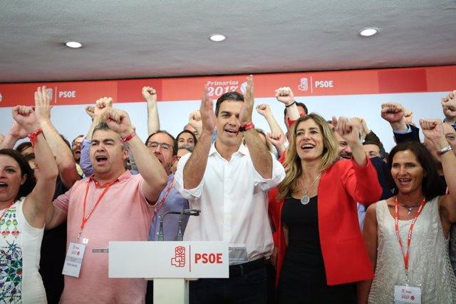Intervención de Pedro Sánchez tras la primarias del PSOE