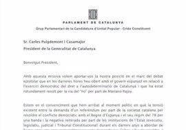 """La CUP pide a Puigdemont la convocatoria """"inmediata"""" del referéndum"""
