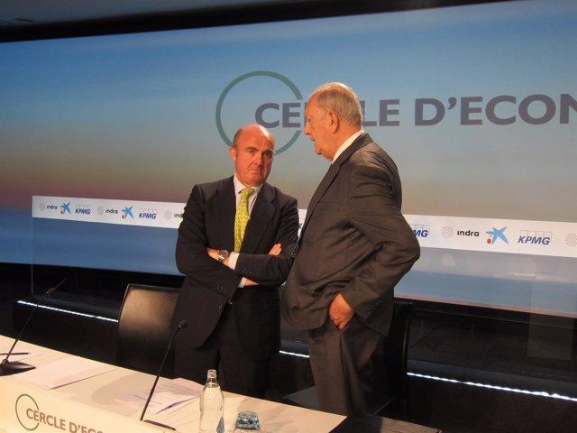 Ministro Luis de Guindos, Juan José Brugera (pte.Círculo de Economía)