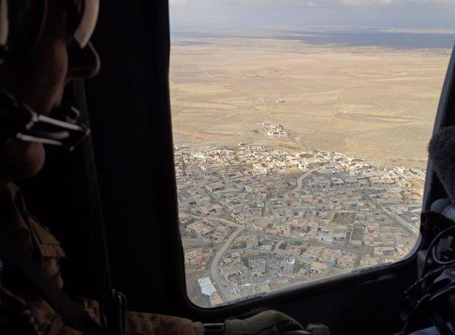 Vista aérea de Mosul desde un helicóptero