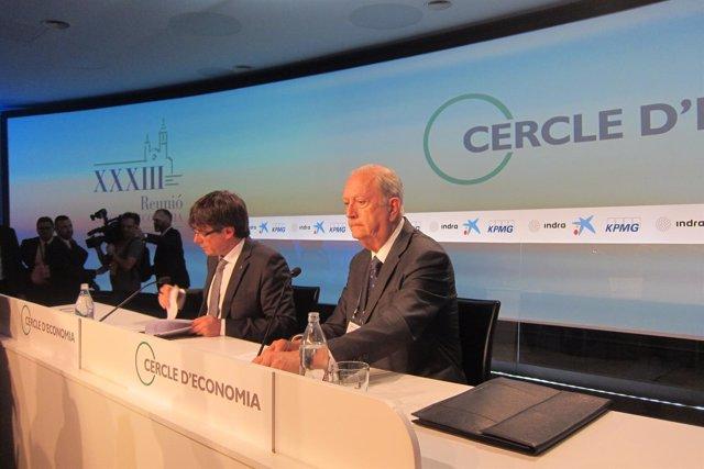 Carles Puigdemont (pte.Generalitat) Juan José Brugera (pte.Círculo de Economía)