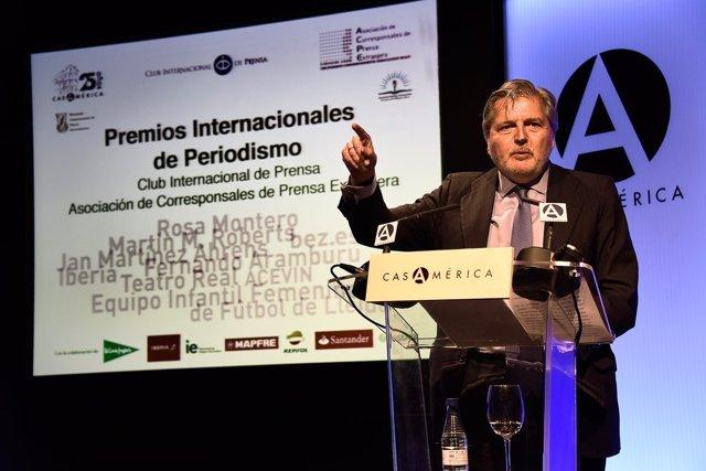 Méndez de Vigo en la entrega de los Premios Club Internacional de Prensa