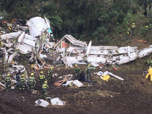 Restos del avión siniestrado de Chapecoense