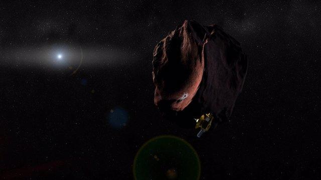 Recreación artística de MU69 en su encuentro con la nave New Horizons