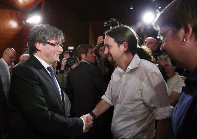 Pablo Iglesias y Carles Puigdemont