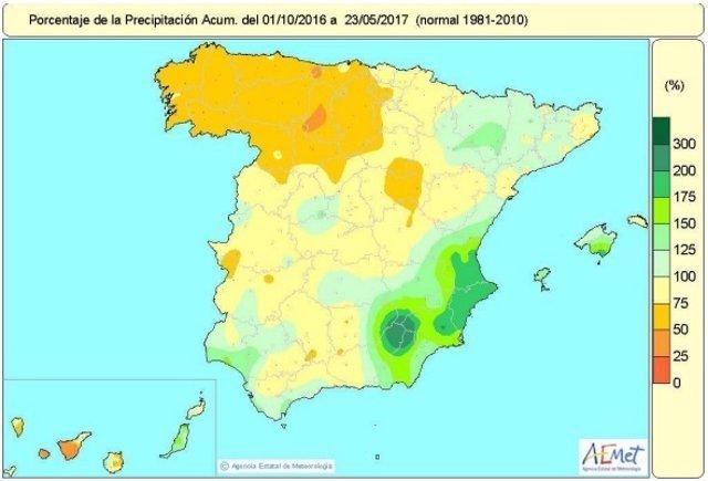 Mapa de lluvias acumuladas hasta el 23 de mayo