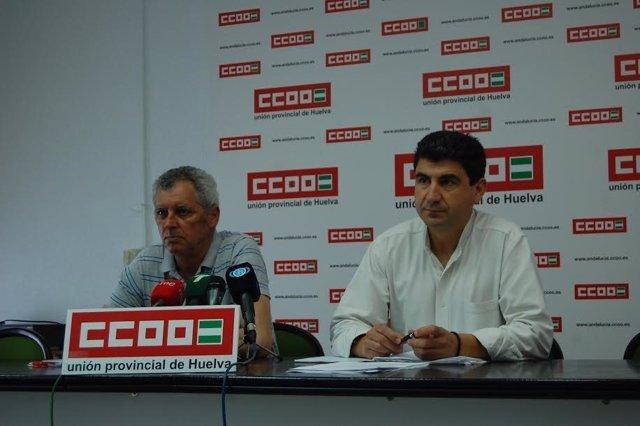 El secretario general de CCOO, Emilio Fernández, y David Díaz.