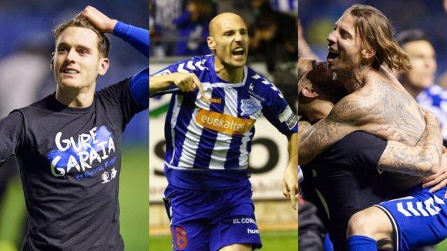Ibai Gómez, Toquero y Alexis Ruano, jugadores del Alavés