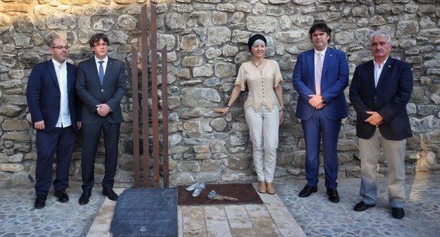Carles Puigdemont, en la inauguración de una escultura a Lluís Companys