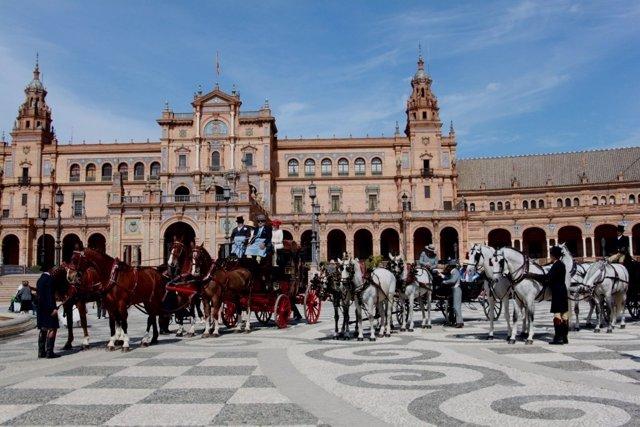Carruajes en la Plaza de España