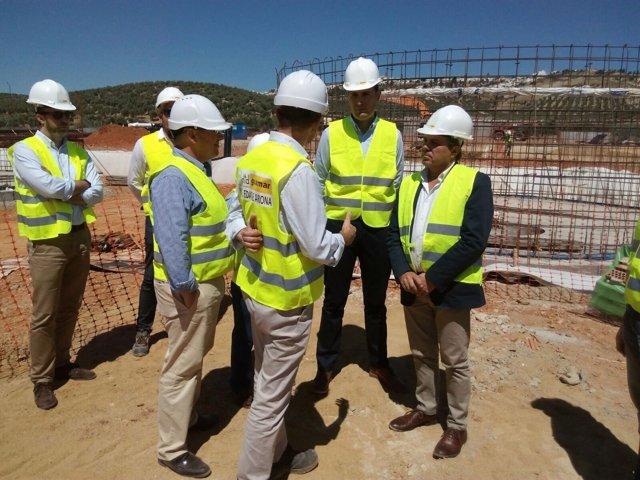 Visita de Juan Eugenio Ortega a obras de la EDAR de Arjona (Jaén)
