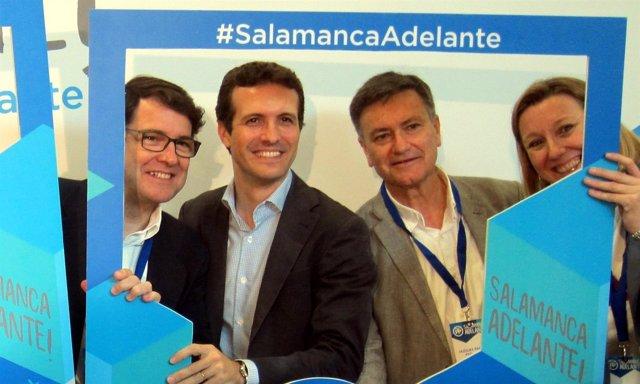 Salamanca.- Mañueco y Casado, junto a militantes