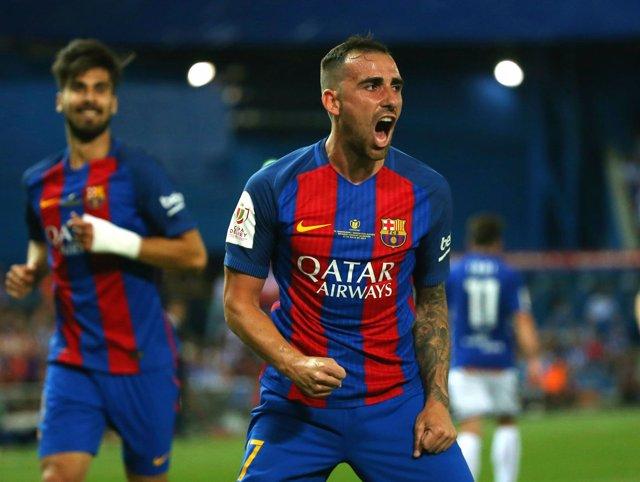 Paco Alcácer celebra el gol en la final de Copa