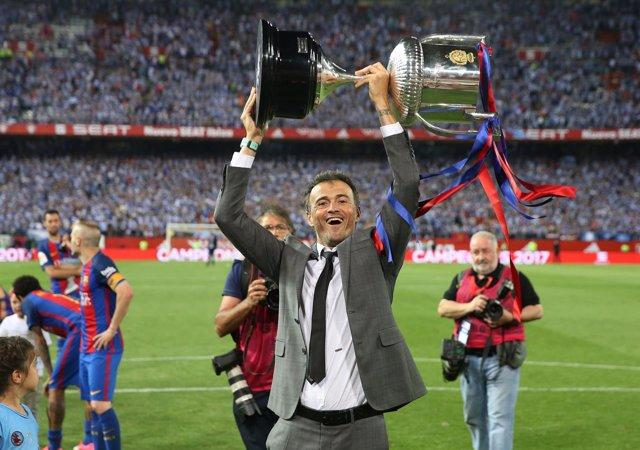 Luis Enrique Martínez celebra la Copa del Calderón 2017