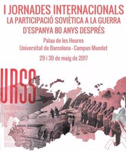 Cartel de las Jornadas sobre la participación soviètica en la Guerra Civil.