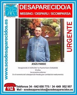 Cartel que avisa de la desaparición de Jesús Pardo