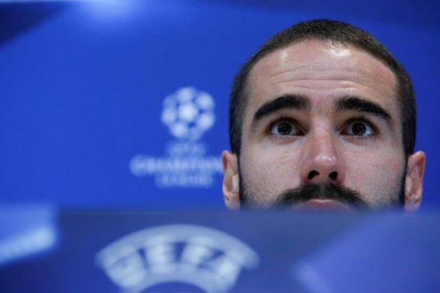 Dani Carvajal, jugador del Real Madrid en la rueda de prensa de Champions