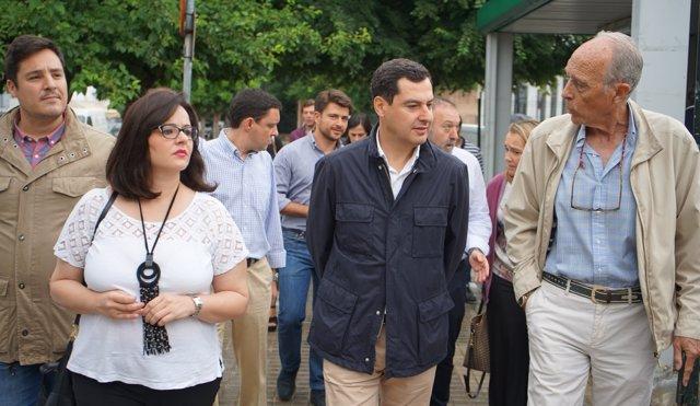 Juanma Moreno, hoy junto a Virginia Pérez en Santiponce