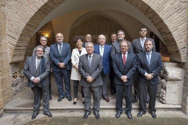 Los presidentes de los tribunales de cuentas en la sede de la Cámara de Comptos