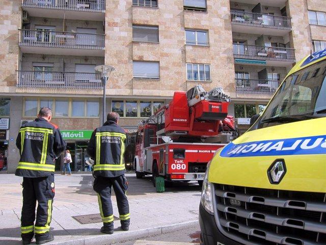 Incendio en la plaza de España de Salamanca
