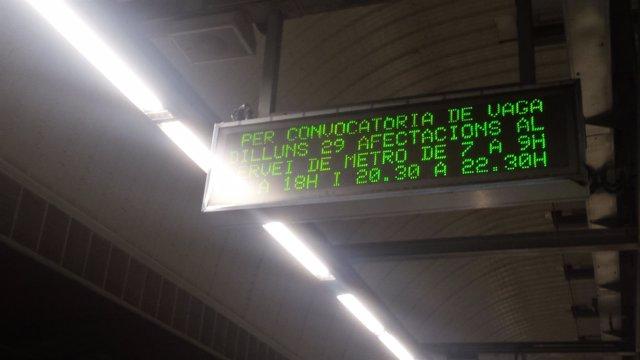 El metro de Barcelona registrará una nueva jornada de huelga este lunes