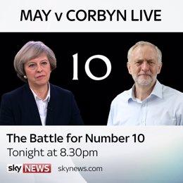 Programa de Sky News con Corbyn y May