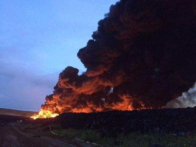 Incendio en una fábrica de neumáticos de Seseña, Toledo