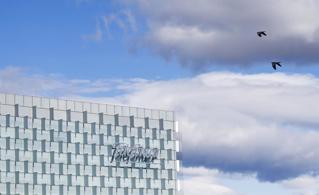 The logo of Spain's Telefonica is seen on its headquarters outside Madrid, Febru