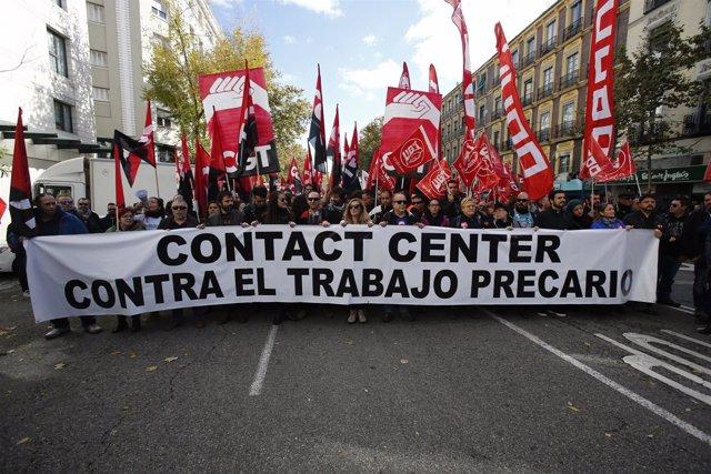 Manifestación en Madrid por Contact Center
