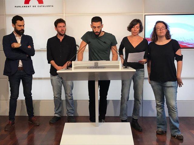 R.Torrent (ERC); A-D. Fachín; A.Sánchez i S.Levi (Xnet), i I.Reguant (CUP)
