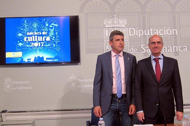 Julián Barrera (izq) y Javier Iglesias en la Diputación de Salamanca