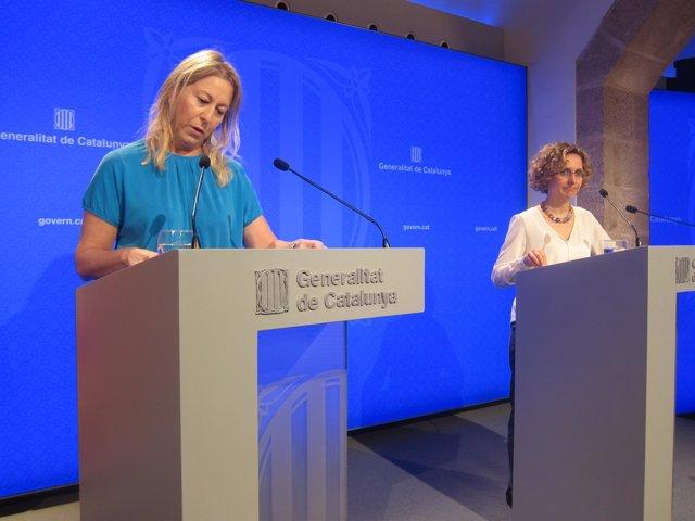 Meritxell Ruiz y Neus Munté tras el Consell Executiu