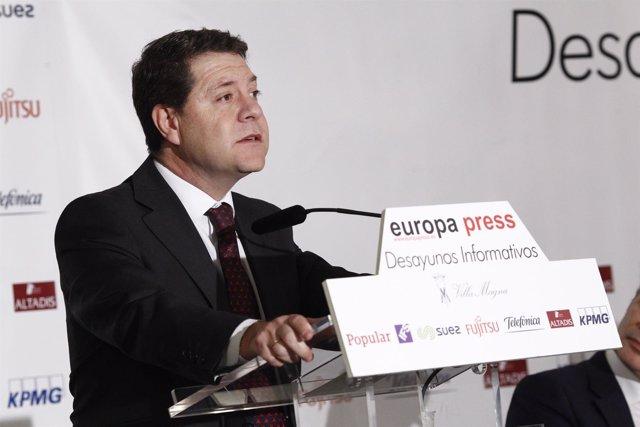 Emiliano García-Page en los Desayunos de Europa Press