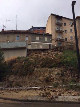Aspecto de la calle Valparaíso de Teruel, afectada por las lluvias.