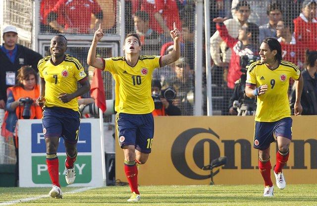 James Rodríguez y Radamel Falcao con la selección de Colombia