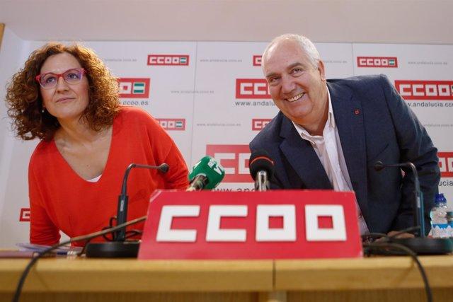 Nuria López, candidata a liderar CCOO-A, junto a Carbonero, secretario saliente