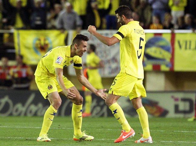 Musacchio celebra el gol del Villarreral