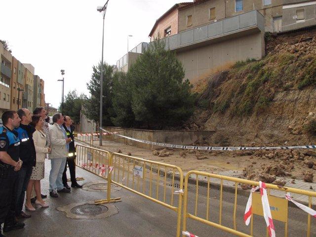 Responsables municipales conocen los daños en la calle Valparaíso
