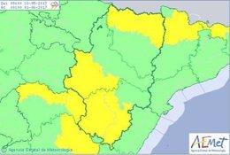 Aviso por lluvias y tormentas en Aragón